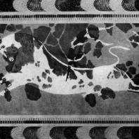 Акробаты с быком. Фреска Кносского дворца (частично реставрирована). 16 в. до н. э. Гераклейон. Музей