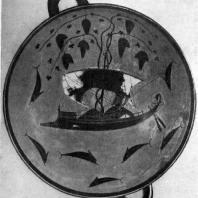 Эксекии. Дионис в ладье. Роспись килика. После 540 г. до н. э. Мюнхен. Музей античного прикладного искусства