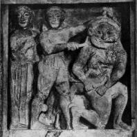 Персей, убивающий Медузу. Метопа храма «С» в Селинунте. 7—6 вв. до н. э. Известняк. Палермо. Национальный музей