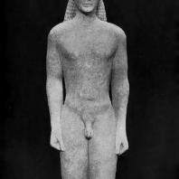Так называемый Аполлон Птойос из святилища Аполлона Птойоса близ Фив. 6 в. до н. э. Мрамор. Афины. Национальный музей