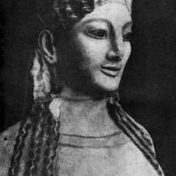 Девушка в пеплосе. Фрагмент. Мрамор. 540—530 гг. до н. э. Афины. Музей Акрополя