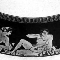 Евфроний. Гетеры, играющие в коттаб. Роспись килика. Начало 5 в. до н. э.