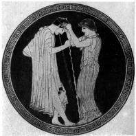 Бриг. Последствия пирушки. Роспись килика. Около 480 г. до н. э. Вюрцбург. Университет