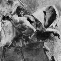 Битва Геракла с Критским быком. Метопа храма Зевса в Олимпии. 468— 456 гг. до н. э. Париж. Лувр; часть метопы. Олимпия. Музей