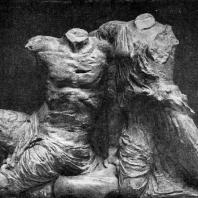 Фидий и его ученики. Кекроп и его дочь Пандроса с западного фронтона Парфенона. Мрамор. Афины. Парфенон
