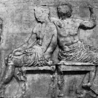Фидий и его ученики. Олимпийские боги. Фрагмент фриза Парфенона. Мрамор. Лондон. Британский музей