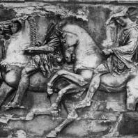 Фидий и его ученики. Всадники. Фрагмент фриза Парфенона. Мрамор. Афины. Парфенон