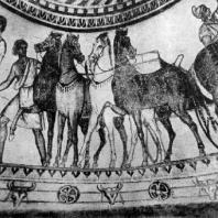 Роспись купольной гробницы в Казанлыке (Болгария). Фрагмент. Конец 4 — начало 3 в. до н. э.
