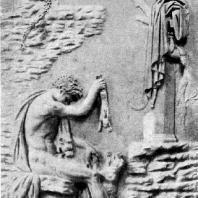 Геракл с собакой. Мраморная римская копия с рельефа 2 в. до н. э. Париж. Лувр