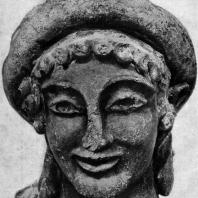 Голова Гермеса из Вей. Глина. Около 500 г. до н. э. Рим. Вилла папы Юлия
