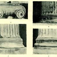 Храм Нике Аптерос (a, c), Эрехтейон (b) и Пропилеи (d)