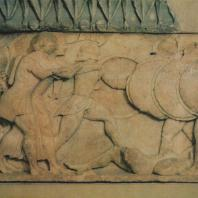 Дельфы. Сокровищница сифносцев. Часть фриза, изображающая борьбу богов с гигантами