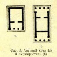 Фиг. 3. Антовый храм (a) и амфипростиль (b)