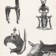 2. Лошадка с кольцевидной ручки котла-треножника. Бронза, VIII в. до н.э. Музей в Олимпии. 3. Мужчина на колеснице, бронзовая фигурка геометрического стиля, VIII в. до н.э. Музей в Олимпии. 4. Голова грифона с котла, являвшегося частью треножника. Бронза, конец VII в. до н.э. Музей в Олимпии. 5. Фрагмент котла с головой быка. Бронза, VIII в. до н.э. Музей в Олимпии. Фото: Анджей Дзевановский