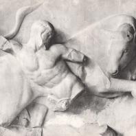 Храм Зевса. Восточная метопа. Геракл, борющийся с критским быком. Снимок с гипсового слепка из Музея в Олимпии. Фото: Анджей Дзевановский