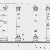 Пальмира. Тетрапилон. Реконструкция до уровня капителей. Вид с юго-восточной стороны. Проект Л. Домбровского