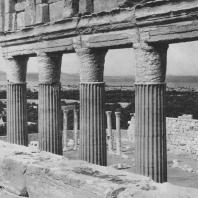 Пальмира. Часть колоннады храма Бела, I век. Капители, лишённые украшений из бронзы