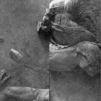 Алтарь Зевса в Пергаме. Южная сторона большого фриза. Эос, богиня утренней Зари, на коне
