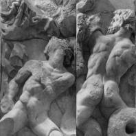Алтарь Зевса в Пергаме. Восточная сторона большого фриза. Гиганты — противники Зевса (справа от Зевса)